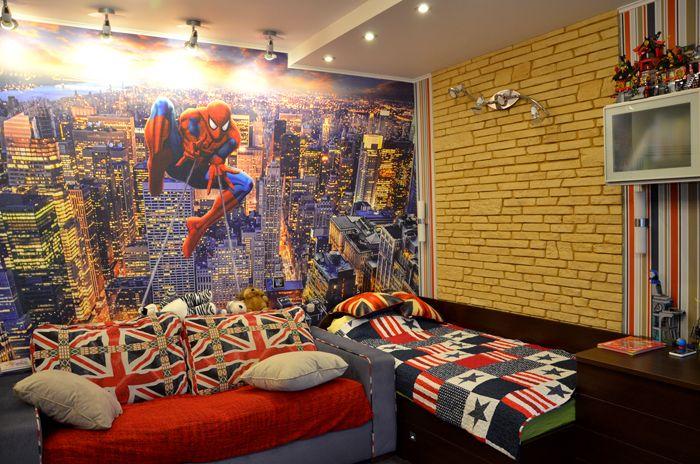 Комната подростка запросто декорируется имитацией кирпичной кладки
