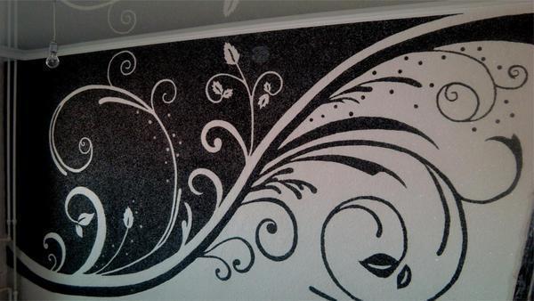 Рисунки жидкими обоями, выполняемые на стенах, выглядят просто превосходно, однако, чтобы они смотрелись интересно и красиво, нужно использовать специальные трафареты
