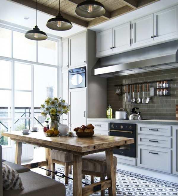 современный интерьер кухни с балконом, фото 53