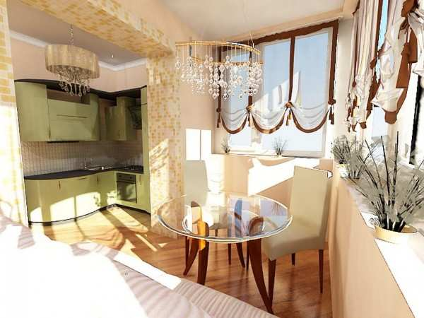 интерьер кухни 9 метров с балконом, фото 55