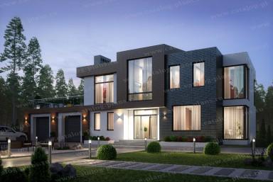 проект дома с плоской крышей в стиле хай-тек 40-86L