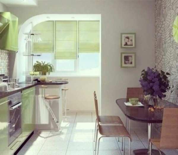 интерьер кухни гостиной с балконом, фото 56