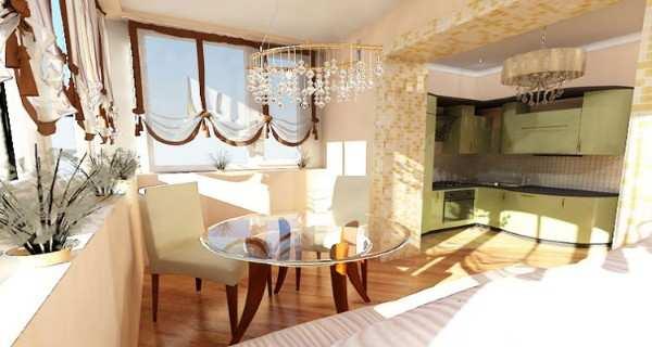 интерьер кухни с выходом на балкон, фото 60