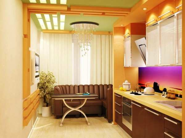 интерьер кухни совмещенной с балконом, фото 62