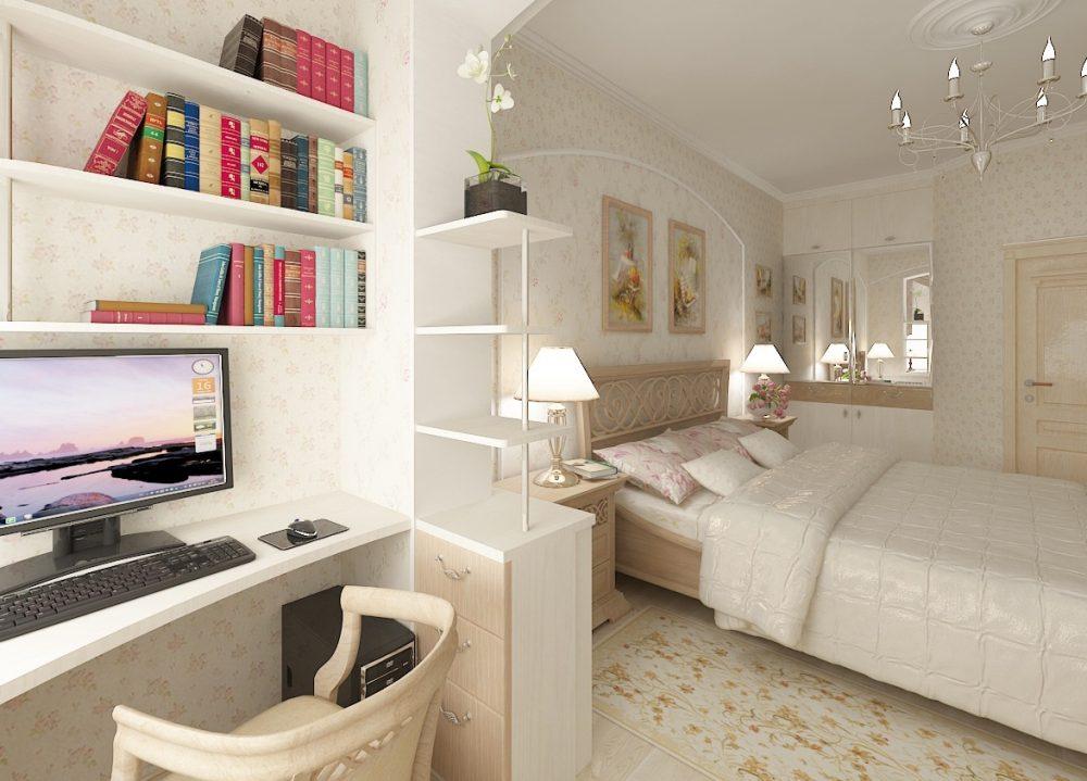 Спальня, совмещенная с балконом в светлых оттенках