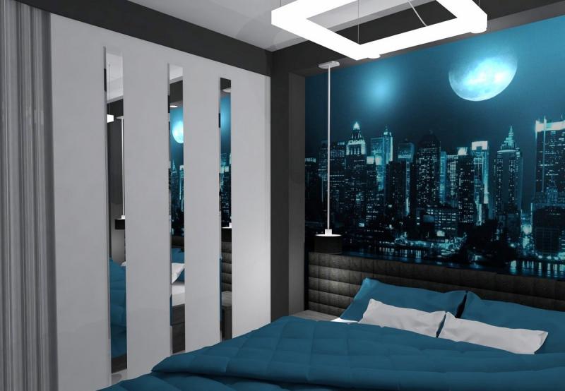 Современные обои с фотопечатью ночного города в комнату