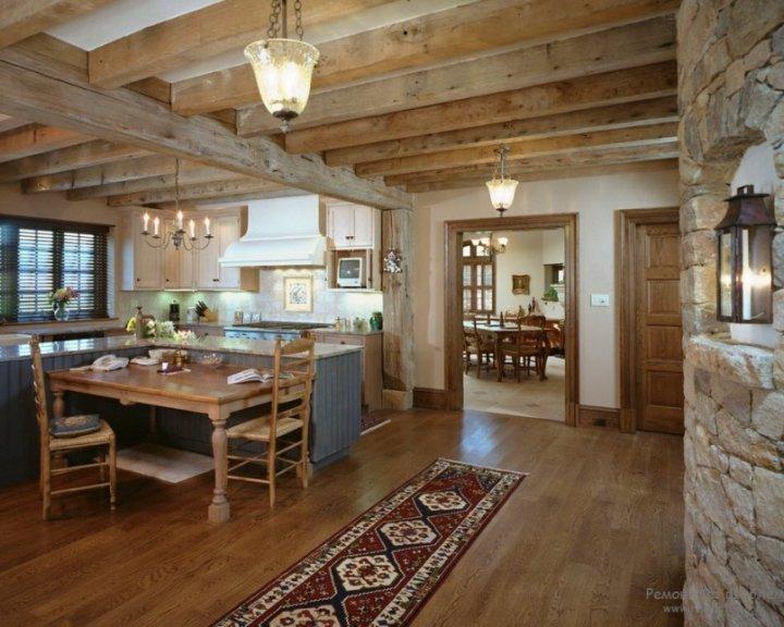 Кухня в интерьере деревянного дома