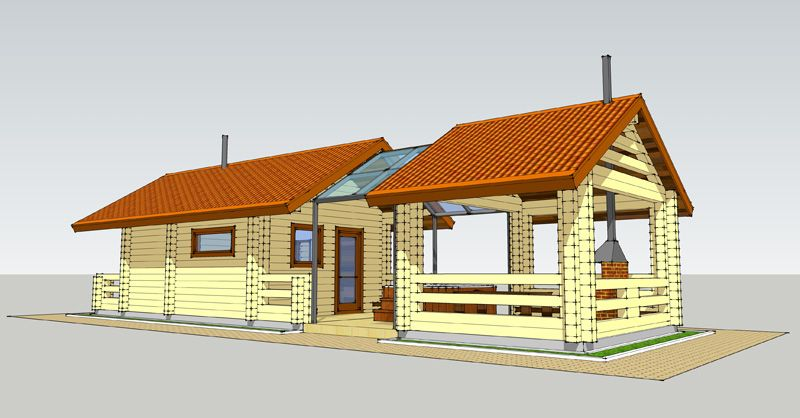 Продольный проект бани с террасой, соединенными между собой поликарбонатной крышей
