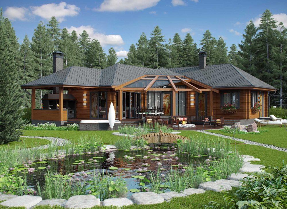 Просторный релакс-комплекс, включающий комнаты отдыха, баню, террасу с барбекю