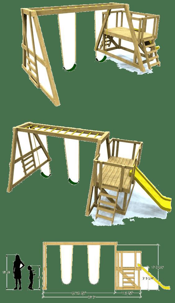 Качели и горка для детей на даче