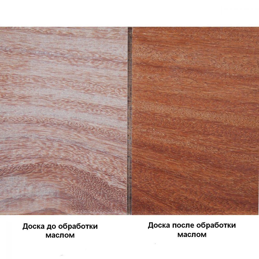 Доска до и после обработки террасным маслом