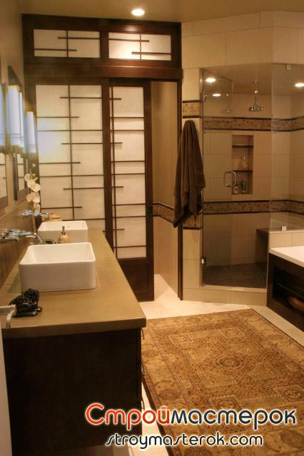 Современная раздвижная дверь в ванную