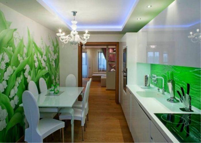 Зеленые обои на кухне.