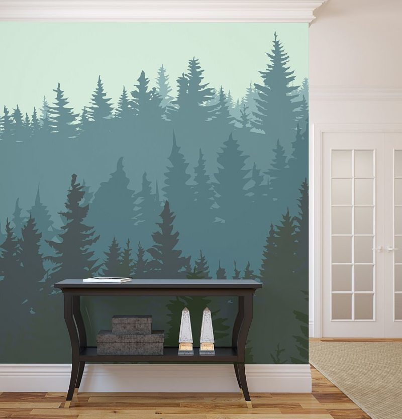 Nice Idea of Forest Wall Mural for Winter Applied for Hallway with Wooden Floor Furnished with Side Table