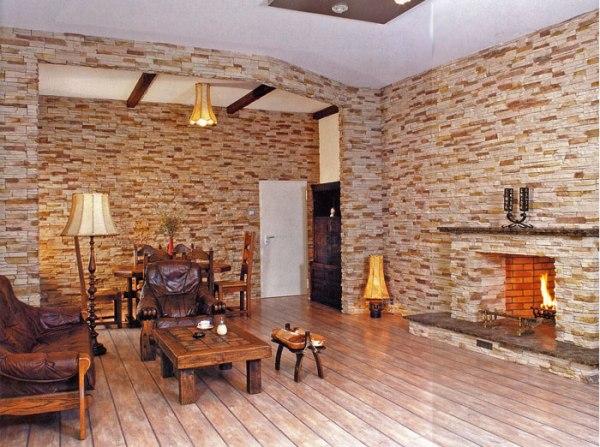 Отделка помещения декоративным камнем