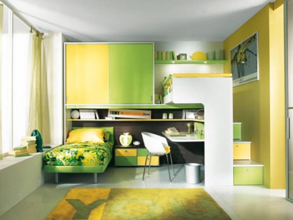 Комната для девочек в зеленых тонах