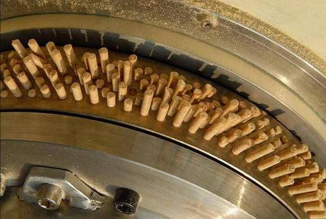 Сформованные пеллеты на выходе из цилиндрической матрицы