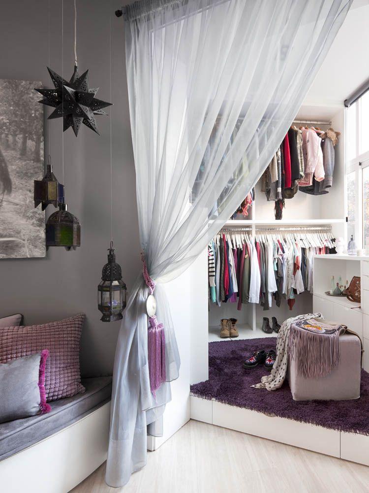Мини-комната для хранения вещей, отгороженная шторкой