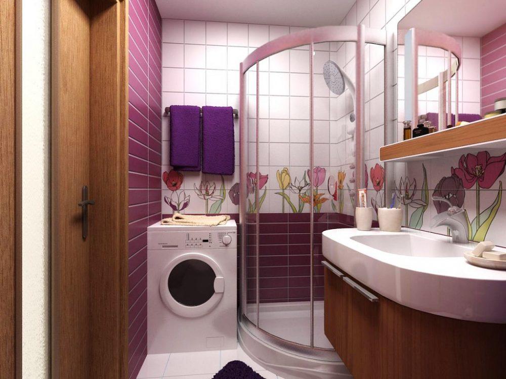 Компактное размещение душевой кабины в маленькой ванной панельного дома
