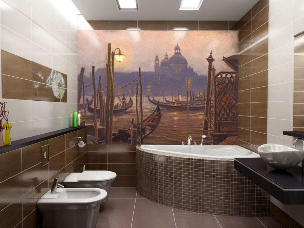 Классическую ванную украшают геометрическими формами
