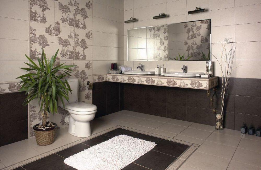 Панно из керамической плитки в пастельных тонах для современной ванной