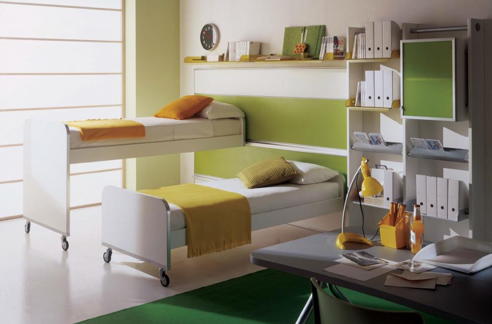 Передижная мебель в дизайне детской для девочек