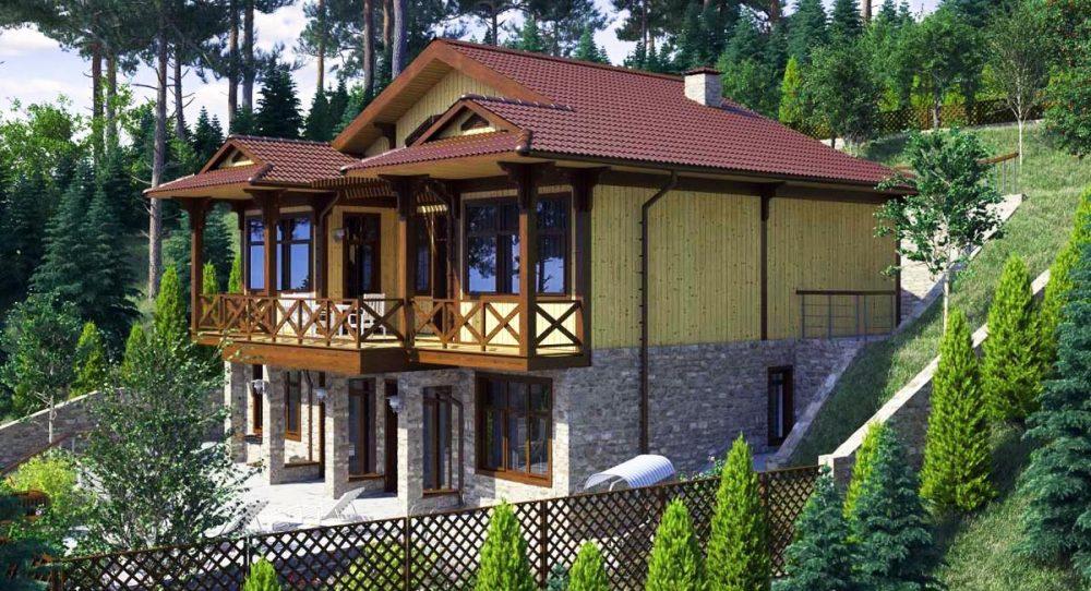 Проект дома шале на склоне