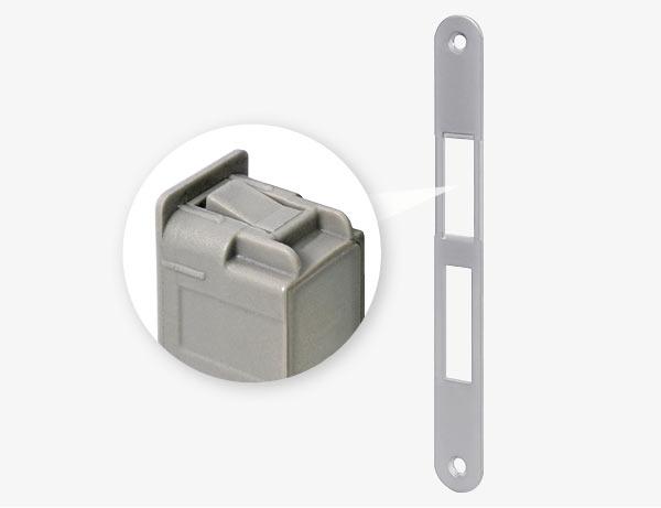 Регулируемая магнитная ответная планка Easy-Fix XT облегчает установку, а система зажимов фиксирует вкладыш в планке