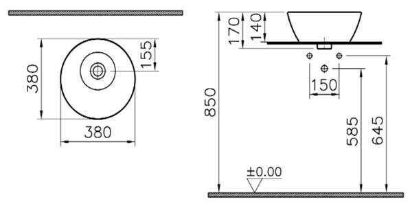 Схема накладного умывальника с размерами