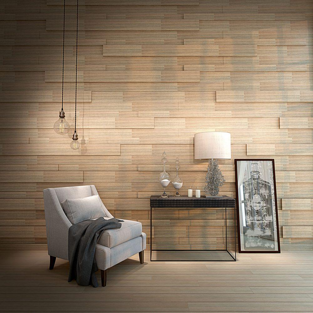 светлая стеновая панель в доме
