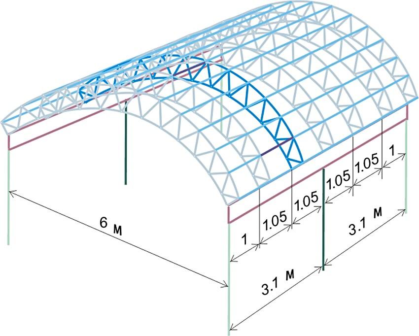 Чертеж каркаса для веранды арочной формы