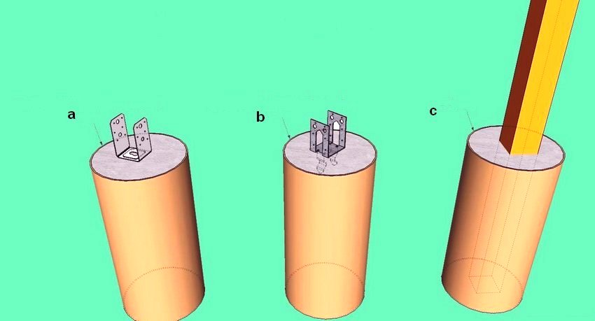 Благодаря небольшому весу веранды из поликарбоната можно использовать и свайный фундамент