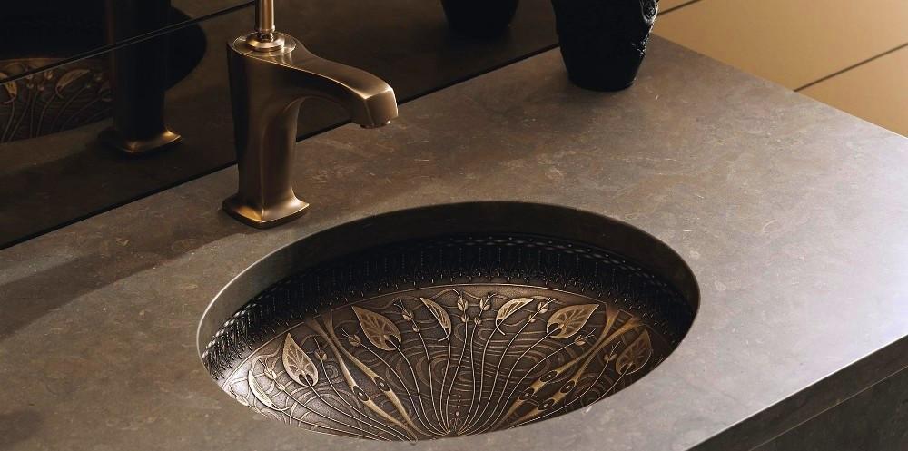 Врезная раковина из бронзы для ванной комнаты