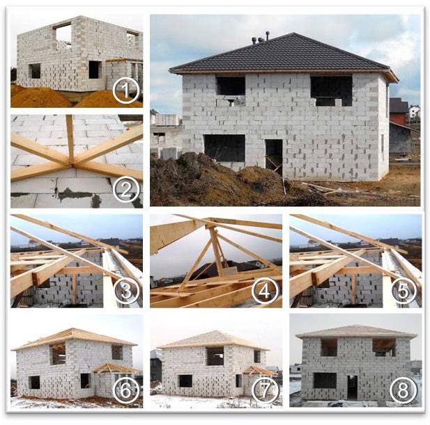 Этапы монтажа шатровой крыши