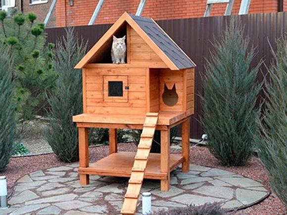 Как сделать дом для кошки на улице