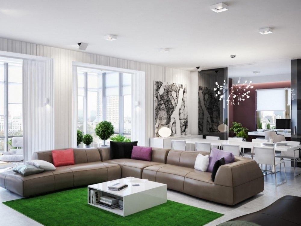 декор гостиной комнаты в стиле модерн