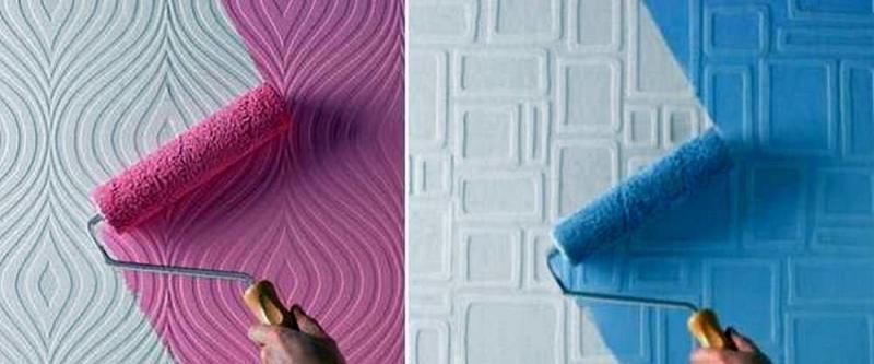 Обои под покраску: фото в интерьере, какие лучше, плюсы и минусы, как красить своими руками, отзывы, гладкие трафареты, структурные, стеклотканевые, видео