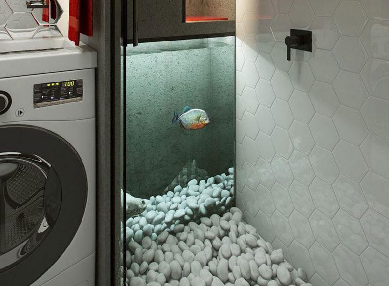 Интерьер ванной комнаты с аквариумом