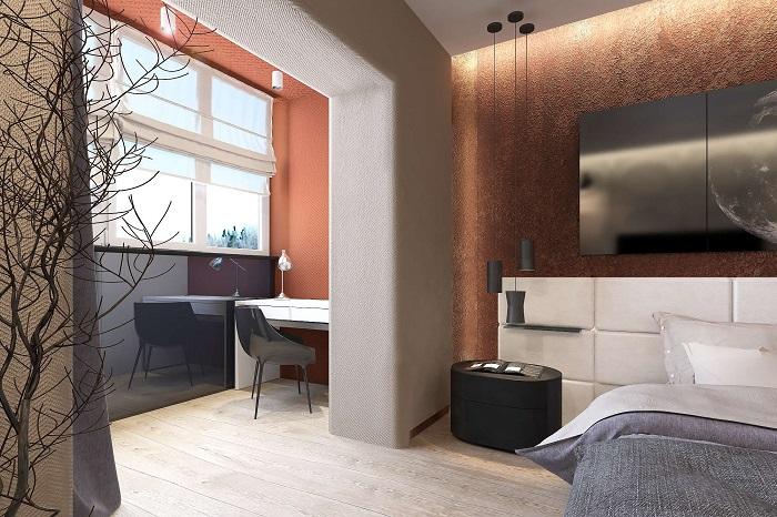 Дизайн спальни с лоджией_фото8