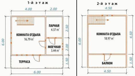 проект двухэтажной бани с террасой