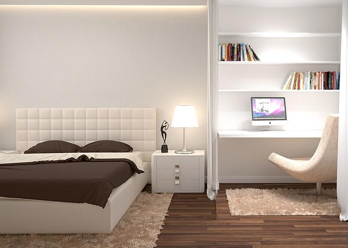 бело коричневая спальня