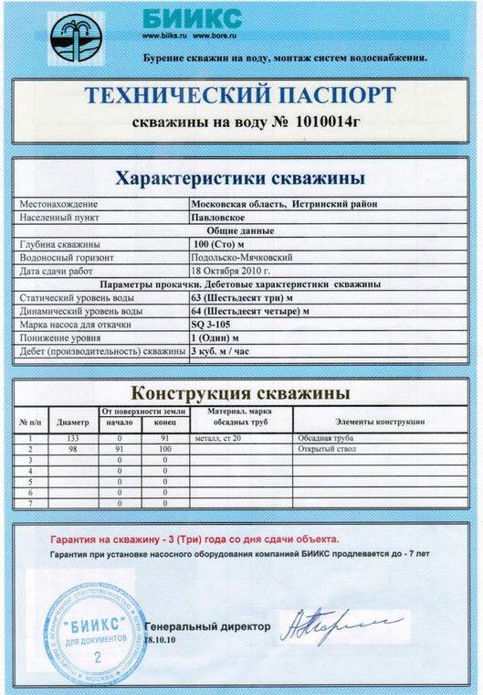 Образец технического паспорта на скважину | Как узнать глубину скважины