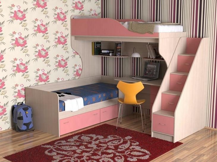 Детский комплекс из двух спальных мест и лестницы с ящиками