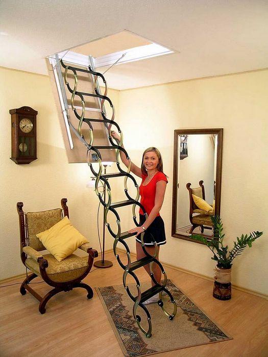 Более эстетичная раскладная лестница из металла