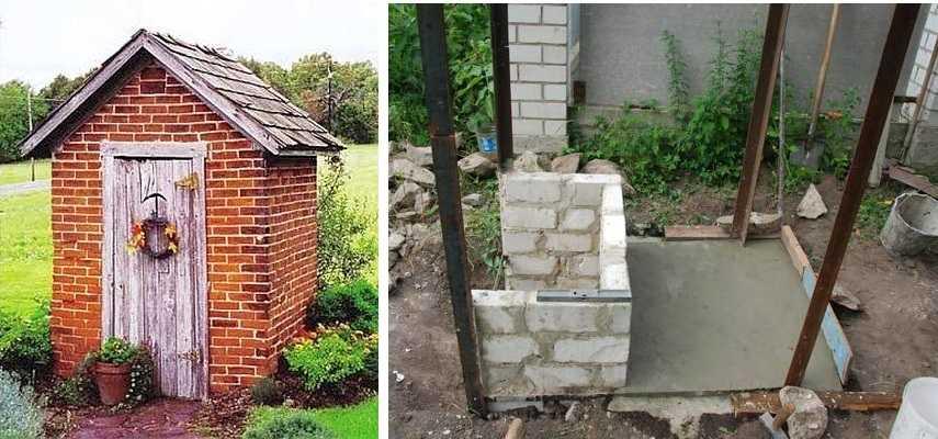 По тому же проекту и чертежу можно построить туалет из кирпича