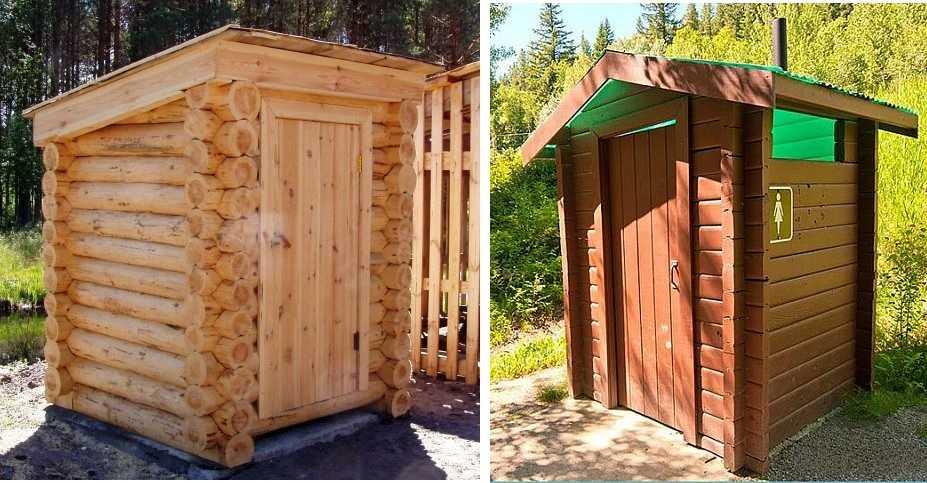 Даже самый простой туалет из бревна смотрится почти как экзотика. Причем, его можно использовать и как зимний вариант