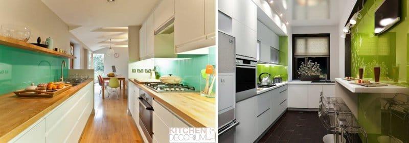 Цвет узкой кухни