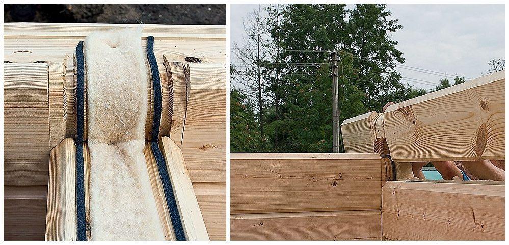 Уплотнение рядов и утепление стыков дома из бруса