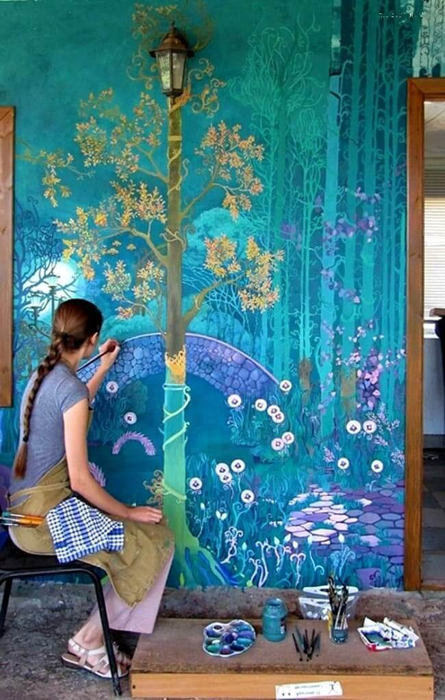 Красивая роспись стен сделанная своими руками