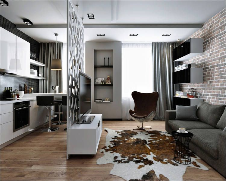 Декоративная перегородка в интерьере квартиры-студии